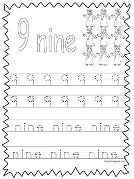 Single Bible Curriculum Worksheet. Trace the Number 9 Preschool Math  Worksheet.