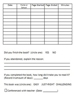 Reading Log Single Book