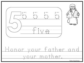 Single Commandment 5 Printable Worksheet. Preschool-Kindergarten Bible Study.