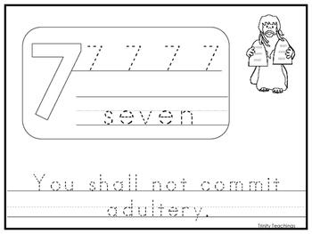 Single Commandment 7 Printable Worksheet. Preschool-Kindergarten Bible Study.