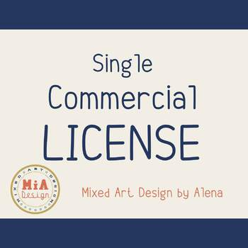 Single Commercial License for Product of MixedArtDesign Store. Commercial use