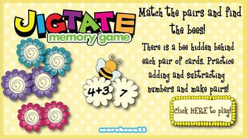Single Digit Add and Subtract Memory Game - Jigtate Little Learners' PC Game