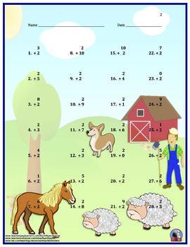 Single Digit Addition - Animal Themed Worksheets - Vertical