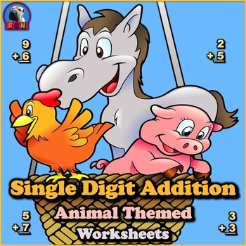 Single Digit Addition - Animal Themed Worksheets - Vertical