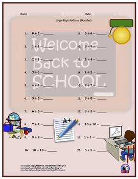 Single Digit Addition - Back to School Themed Worksheets - Horizontal