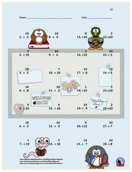 Single Digit Addition - Back to School Themed Worksheets - Vertical