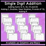 Single Digit Addition: Basic Facts Practice
