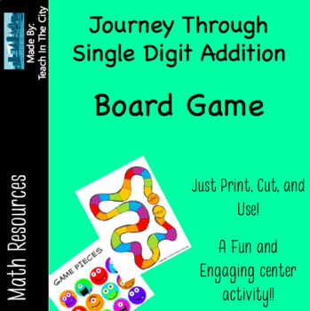 Single Digit Addition - Board Game - Center Activity