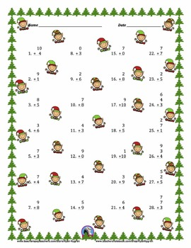 Single Digit Addition - Christmas Themed Worksheets - Vertical