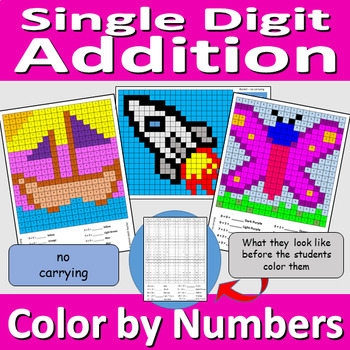 Single Digit Addition - Color by Numbers Worksheet - no carrying