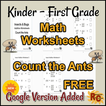 Math Single Digit Addition - Count the Ants Worksheets Free