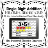 Single Digit Addition Digital Multiple Choice Activity