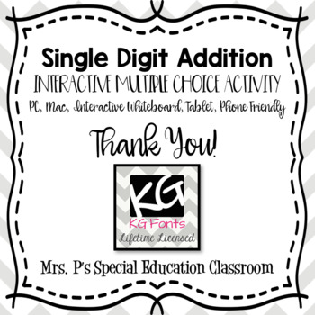 Single Digit Addition Digital Multiple Choice Activity