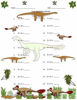 Single Digit Addition - Dinosaur Themed Worksheets - Horizontal