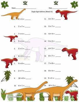 Single Digit Addition - Dinosaur Themed Worksheets - Horizontal
