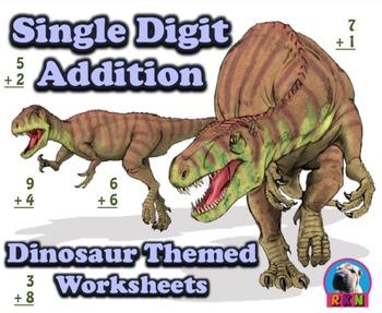 Single Digit Addition - Dinosaur Themed Worksheets - Vertical