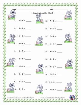 Single Digit Addition - Easter Themed Worksheets - Horizontal
