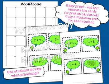 Single Digit Addition Task Cards - Footloose Activity