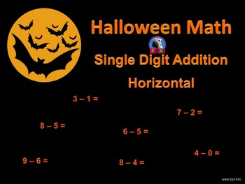 Single Digit Addition - Halloween Themed Worksheets - Horizontal