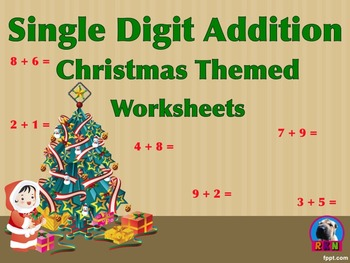 Single Digit Addition - Christmas Themed II - Horizontal