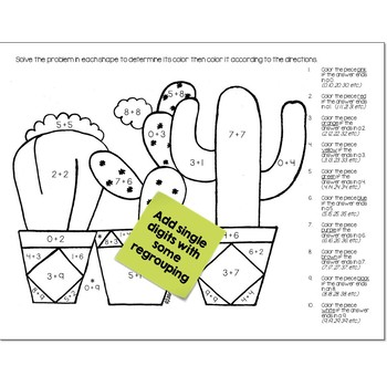 Single Digit Addition Math Practice Cactus Color by Number