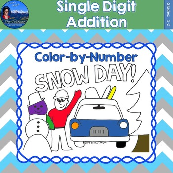 Single Digit Addition Math Practice Snow Day Color by Number