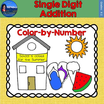 Single Digit Addition Math Practice End of Year Color by Number