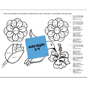 Single Digit Addition Math Practice May Flowers Color by Number