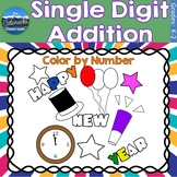 Single Digit Addition Math Practice | New Years Color by Number