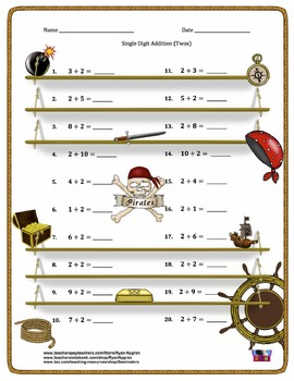 Single Digit Addition - Pirate Themed Worksheets - Horizontal