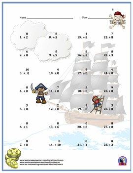 Single Digit Addition - Pirate Themed Worksheets - Vertical