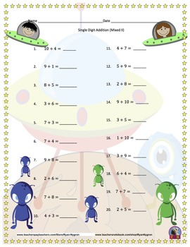 Single Digit Addition - Space Themed Worksheets - Horizontal