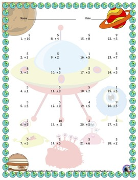 Single Digit Addition - Space Themed Worksheets - Vertical