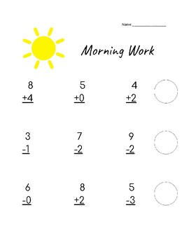 Single Digit Addition/Subtraction Morning Work
