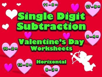 Single Digit Addition & Subtraction Worksheet Bundle - Valentine's Day -60 Pages