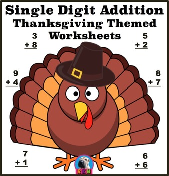 Single Digit Addition - Thanksgiving/Fall Themed Worksheets - Horizontal