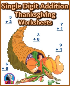 Single Digit Addition - Thanksgiving/Fall Themed Worksheets - Vertical