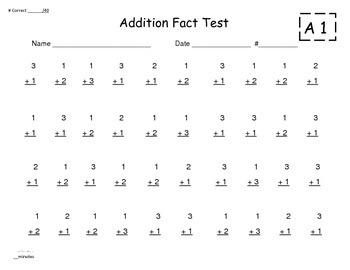 Single Digit Addition Timed Tests