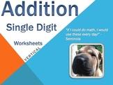 Single Digit Addition - Worksheets - Vertical (15 Pages)