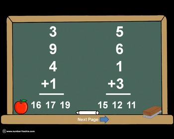 Single Digit Addition With 4 Addends PowerPoint Quiz - Mat