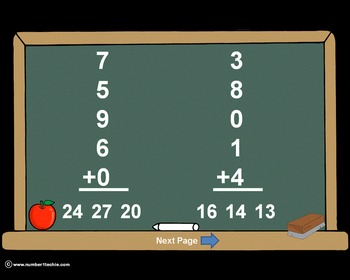 Single Digit Addition With 5 Addends PowerPoint Quiz - Mat