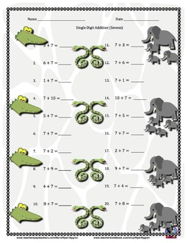 Single Digit Addition Worksheets with Clipart (15 Pages) Horizontal