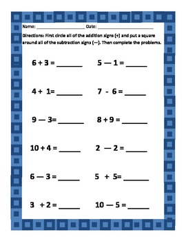 Single Digit Addition and Subtraction