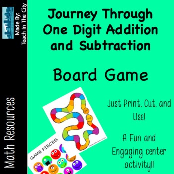 Single Digit Addition and Subtraction - Board Game - Cente
