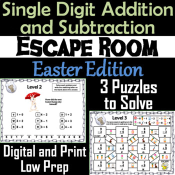 Single Digit Addition and Subtraction Game: Easter Escape Room Math