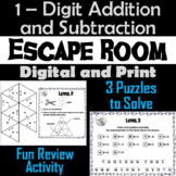 Single Digit Addition and Subtraction Game: Escape Room Math