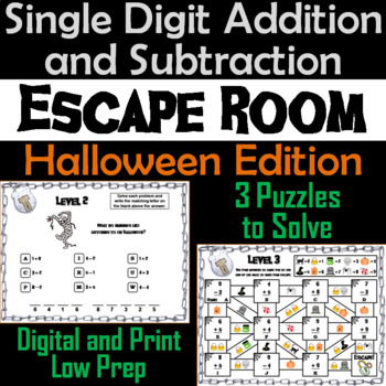 Single Digit Addition and Subtraction Game: Halloween Escape Room Math