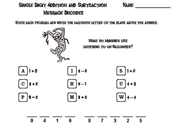 Single Digit Addition and Subtraction Game: Halloween Math Message Decoder