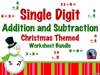 Single Digit Addition and Subtraction Worksheet Bundle - C