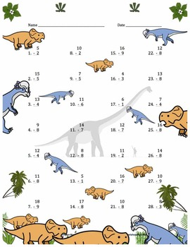 Single Digit Addition and Subtraction Worksheet Bundle - Dinosaurs (60 Pages)